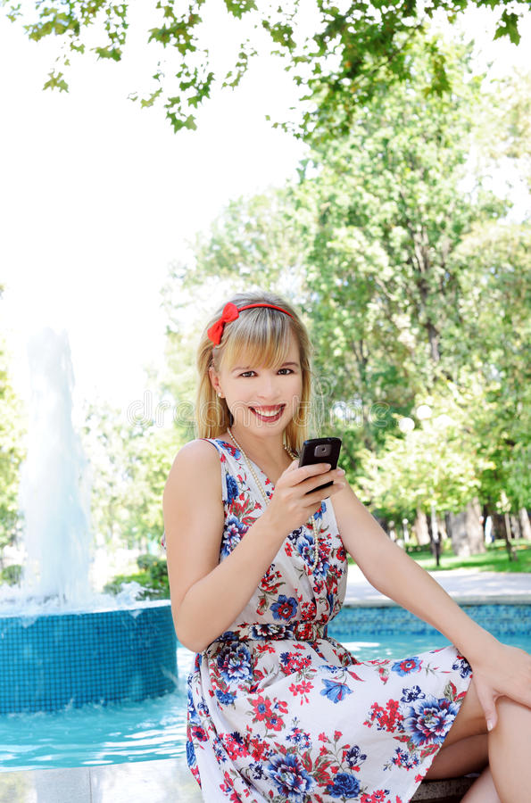 Download Girl in the park stock photo. Image of fountain, spring - 22199600