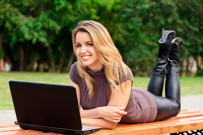 Download Girl in a park with laptop stock image. Image of lifestyle - 15147261