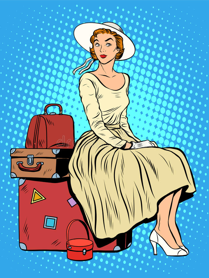 Girl passenger baggage travel trip stock illustration