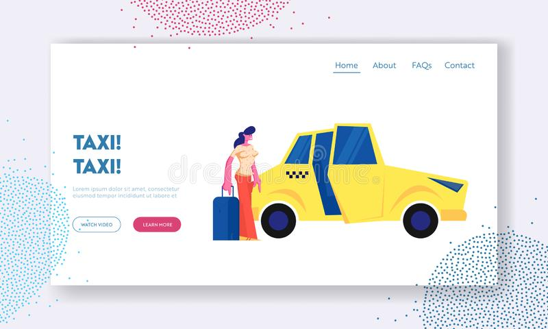 Girl Passenger with Luggage Stand near Yellow Taxi Car. Woman with Suitcase Going to Sit in Cab. City Taxi Order, Destination. Website Landing Page, Web Page royalty free illustration