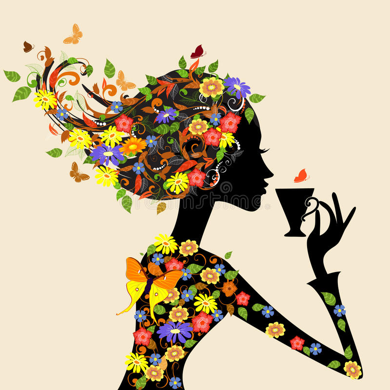 Download Girl In Pattern Of Flowers With A Cup Stock Photos - Image: 21004803