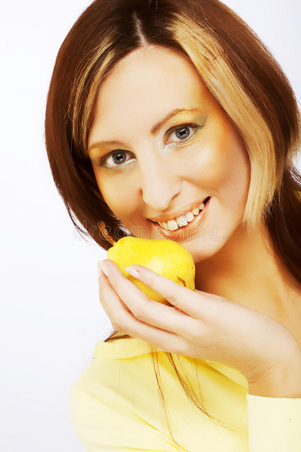 Girl with Pear stock images