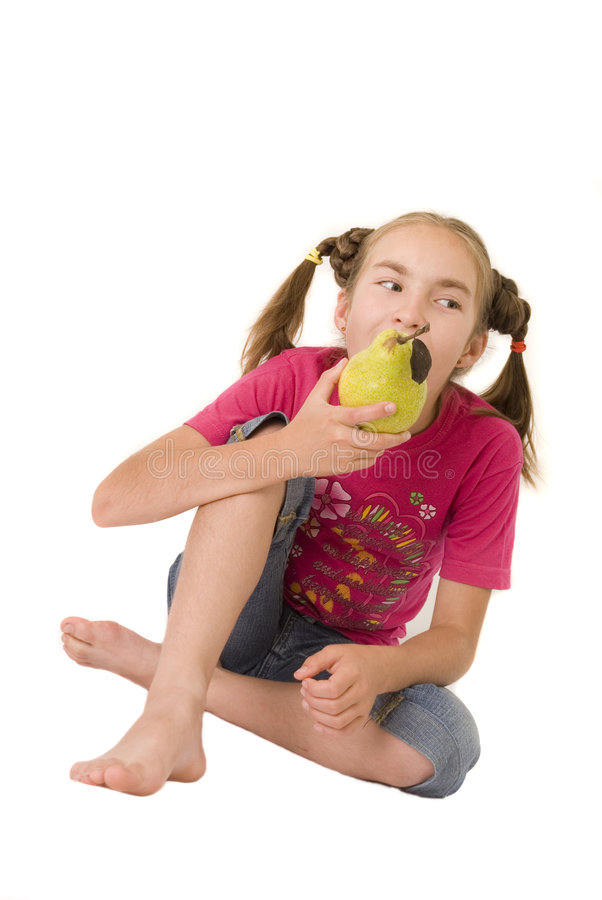 Download Girl with a pear V stock photo. Image of creative, schoolgirl - 2918888
