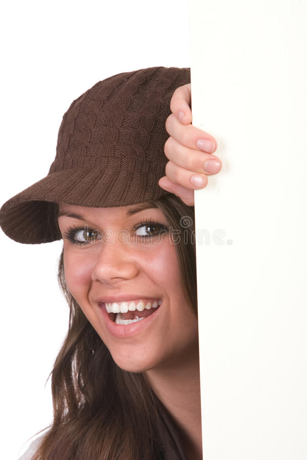 Girl peeking stock images