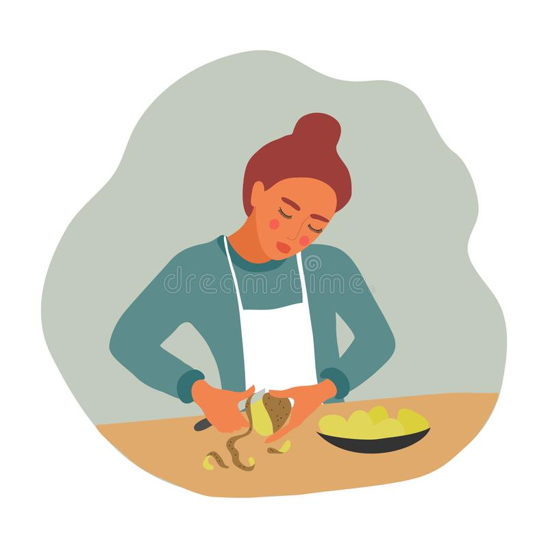 Girl peeling potatoes for cooking. A young woman with a knife and a vegetable prepares food. Vector flat illustration. Girl peeling potatoes for cooking. A young vector illustration