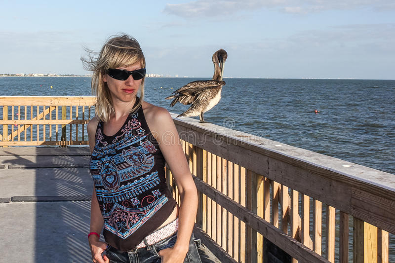 Download Woman with pelican stock photo. Image of fishing, florida - 41755504