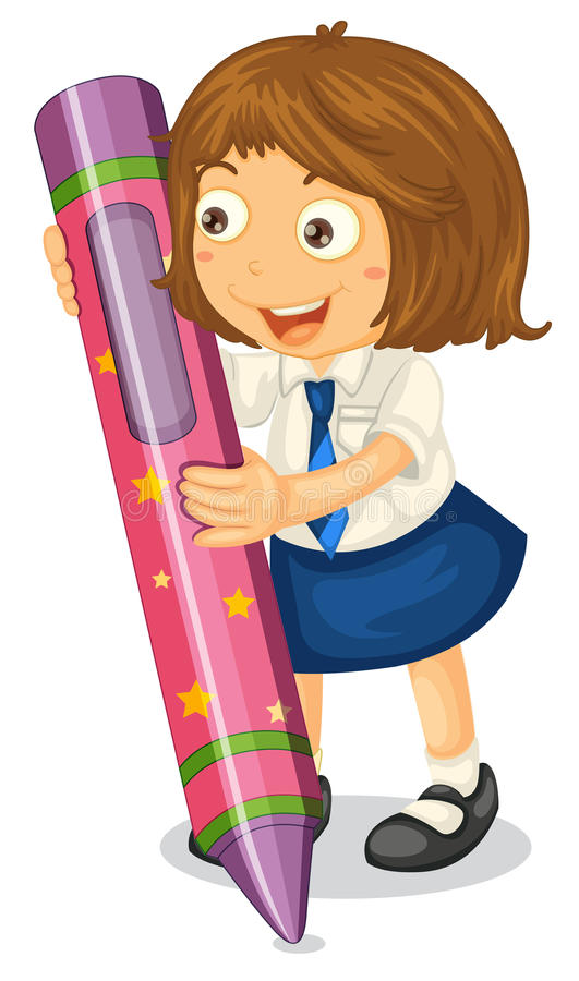 Girl with a pencil vector illustration