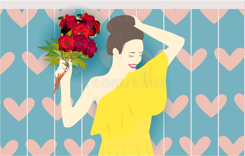 Girl with peonies, flowers hearts summer background vector illustration