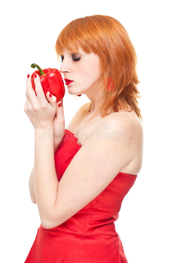 Download Girl With Pepper In Red Dress Isolated Stock Image - Image: 21976891