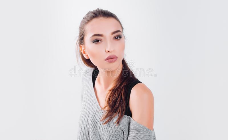 Girl with perfect face skin. Trendy makeup. skincare. confident fashion model. sexy woman. makeup cosmetics. pretty girl royalty free stock photos