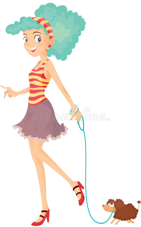 Download A Girl With Pet stock vector. Image of animal, white - 14934829