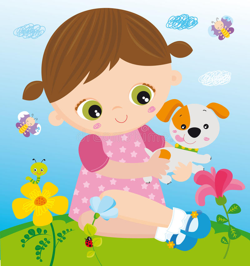 Download Girl with pet stock vector. Illustration of garden, ladybug - 24785120