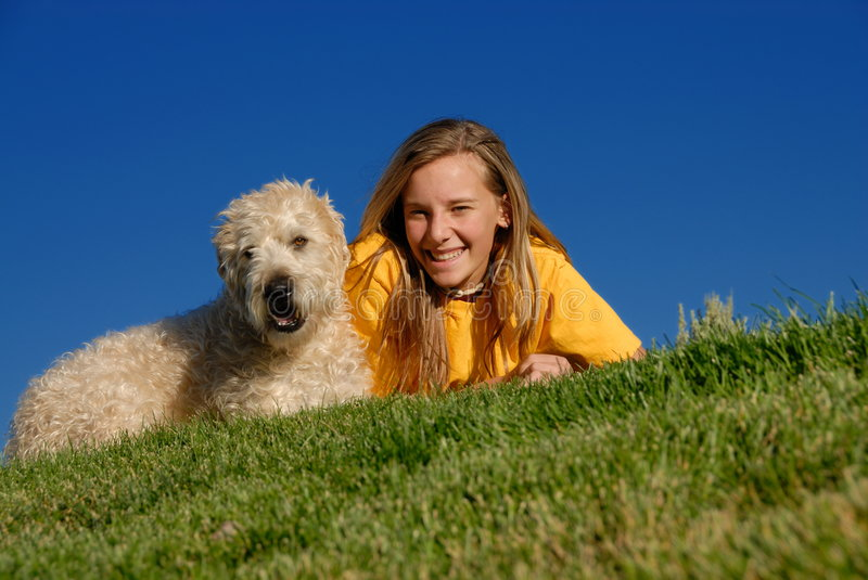 Girl with pet royalty free stock photo