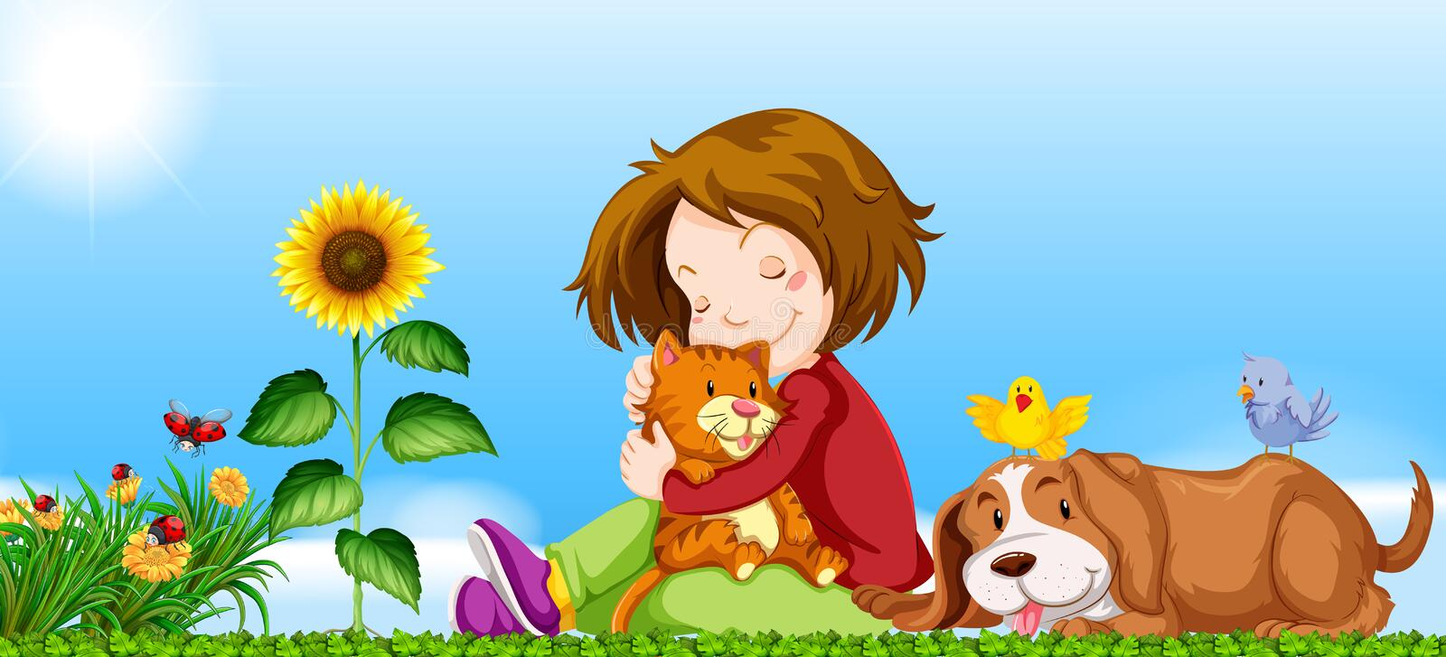 Download Girl And Pets In The Garden Stock Vector - Illustration of landscape, scene: 74581644