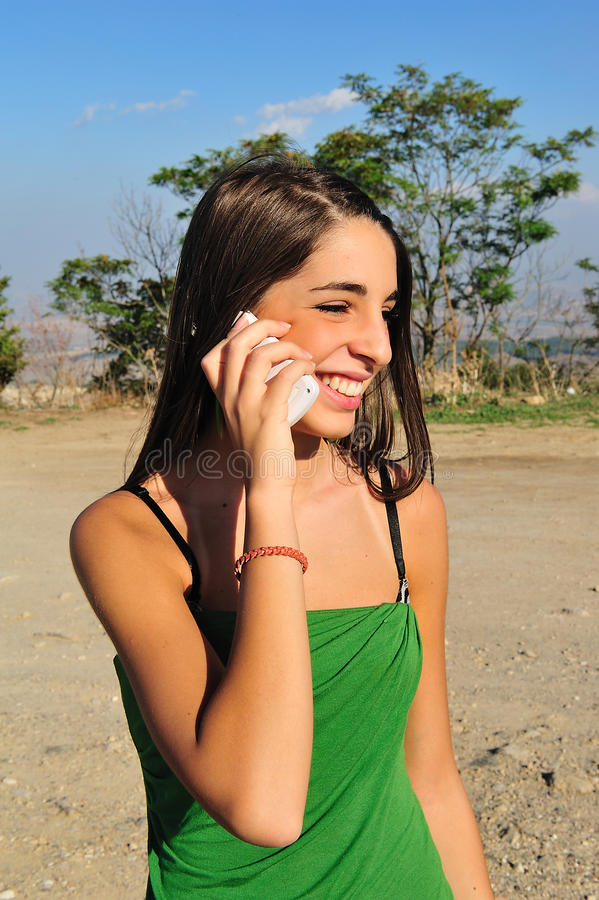 Girl with phone stock image