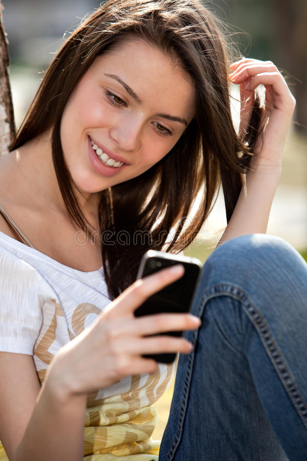 Download Girl with phone stock photo. Image of happiness, pretty - 24318192