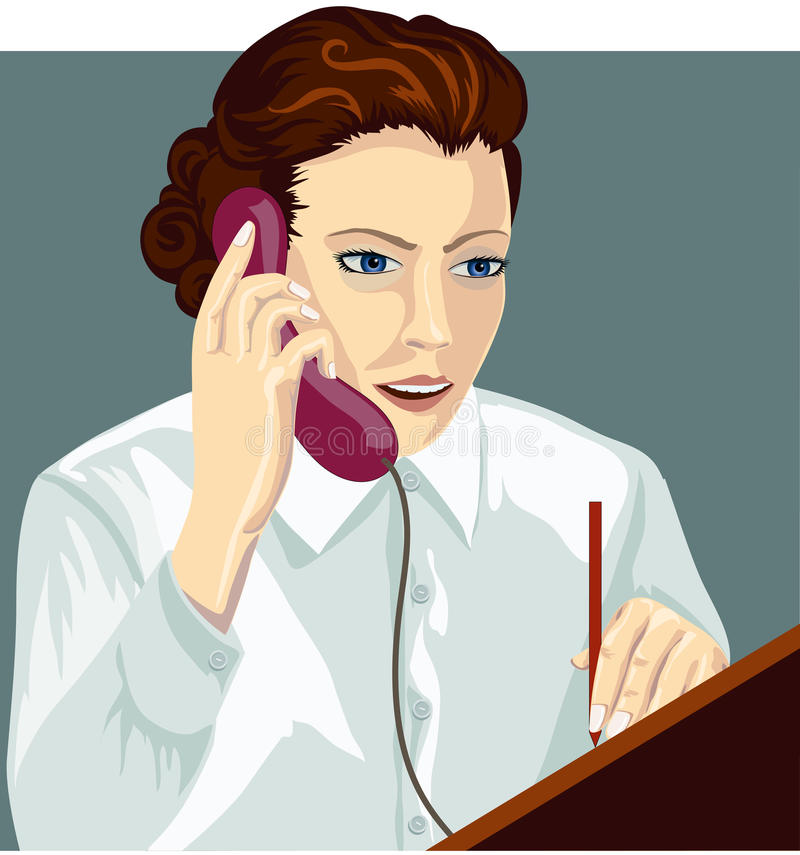 Download The girl with phone stock vector. Illustration of discussion - 26498789