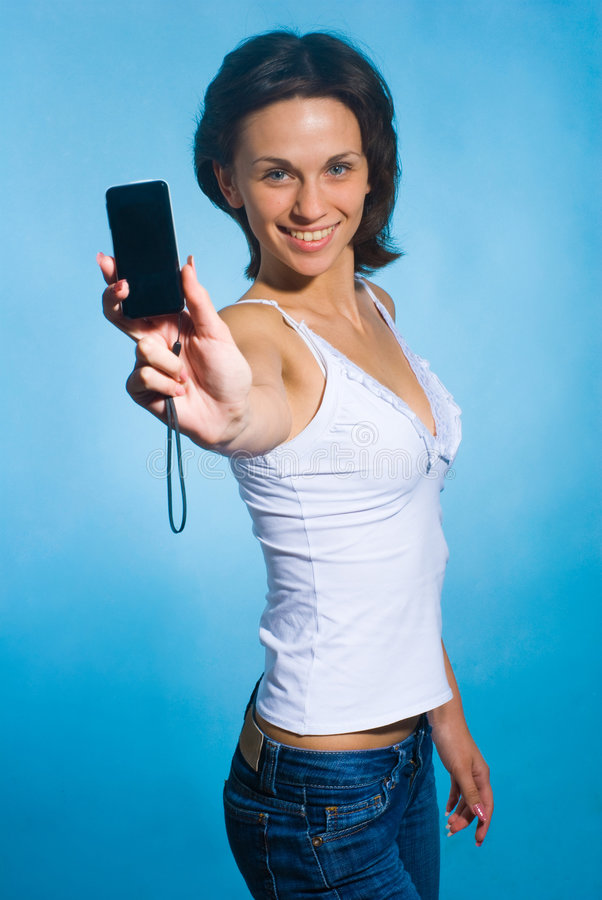 Girl with a phone royalty free stock photos