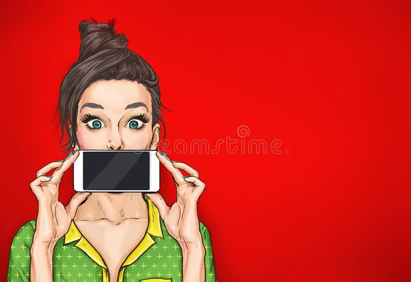 Girl with phone in the hand in comic style. Woman with smartphone. Digital advertisement. Woman with phone. Girl with phone