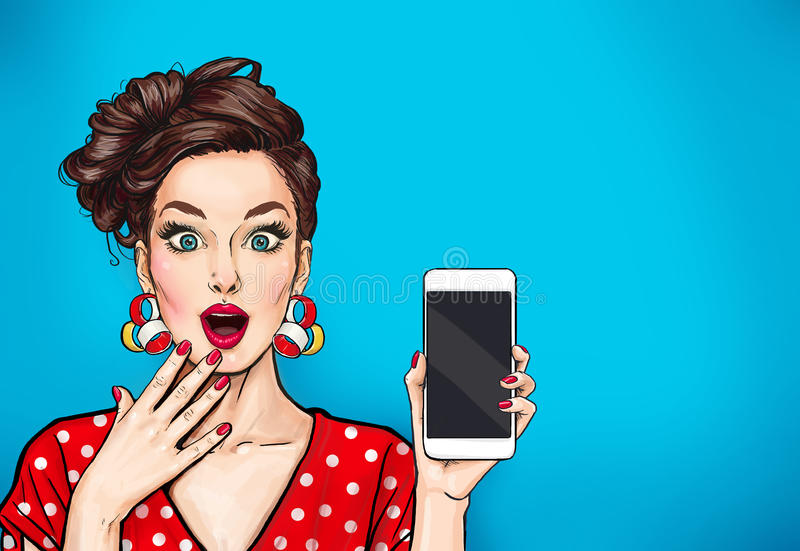 Girl with phone in the hand in comic style. Woman with smartphone. Hipster girl. Digital advertisement.Woman with phone. Girl with phone in the hand in comic stock illustration