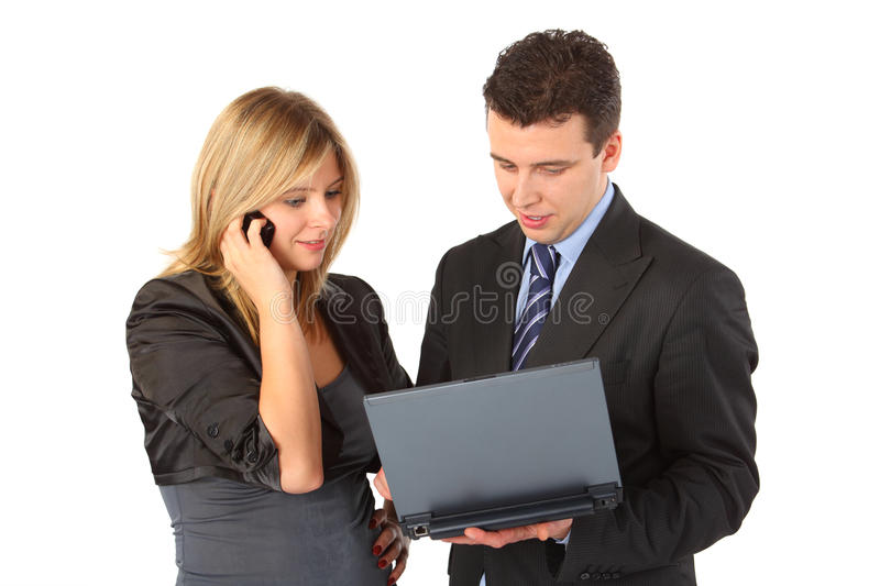 Girl with phone, man with notebook stock image