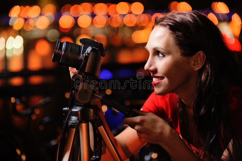 Download Girl-photographer With Camera Stock Photo - Image of beauty, lively: 14424538
