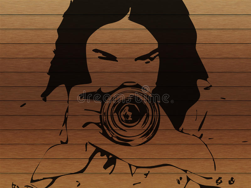 Girl photographer grunge background stock illustration
