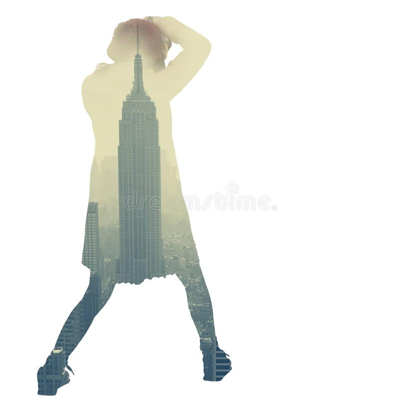 Girl photographing the city. Double Exposure royalty free stock photo