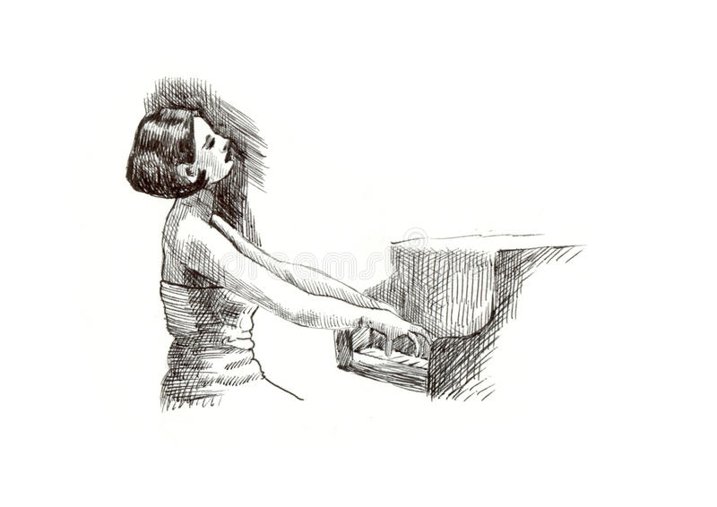 Girl with piano stock illustration