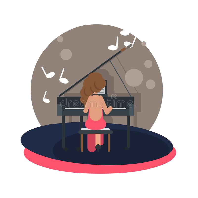 Girl at the piano at the stage color flat illustration. For web and mobile vector illustration