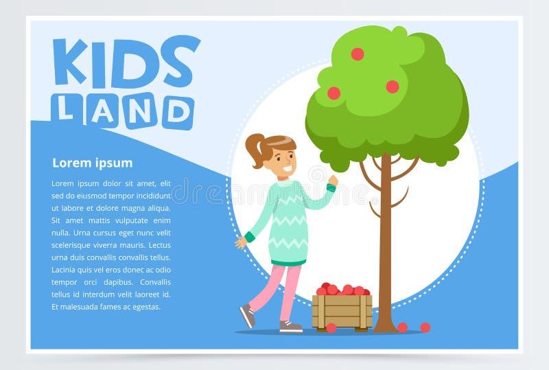 Girl picking apples in garden, eco concept, organic gardening stock illustration