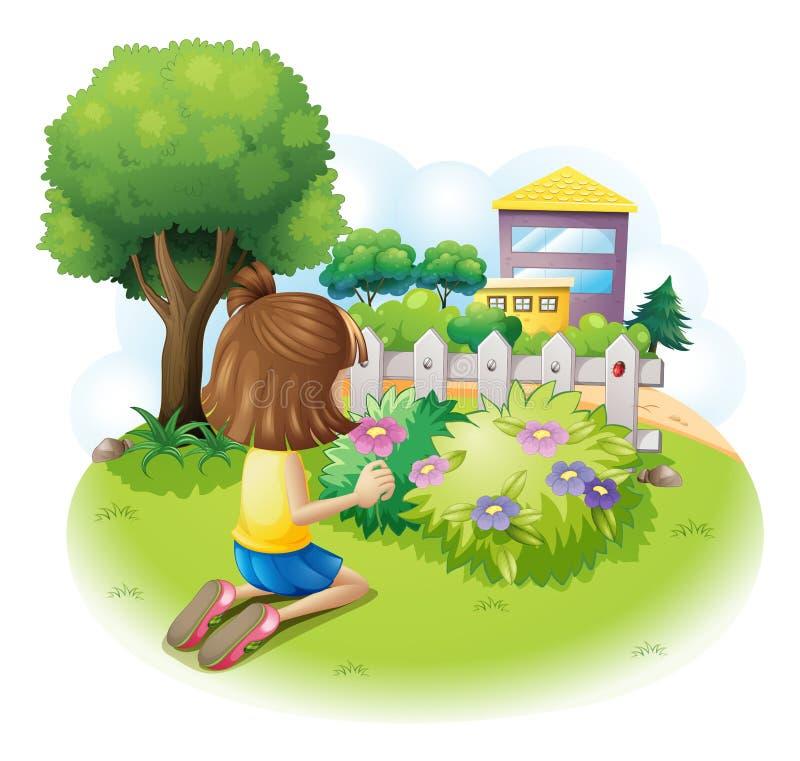 A girl picking flowers stock illustration