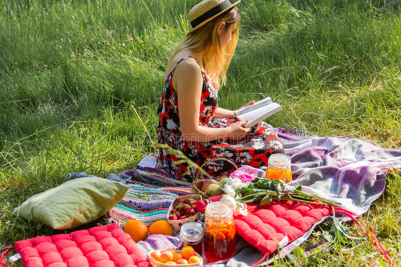 Girl on a picnic reads the book stock images