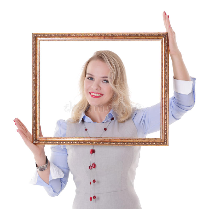 Girl with picture frame royalty free stock photo