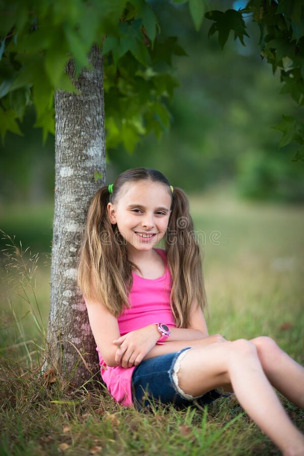 Girl with Pigtails stock photography