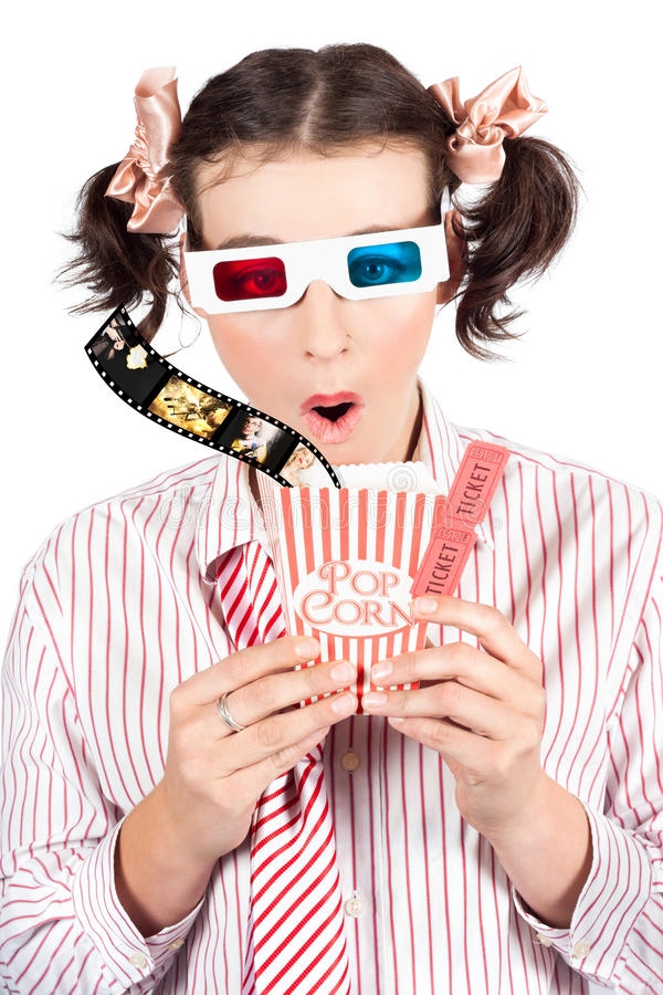 Download Girl In Pigtails Watching A 3D Comedy Movie Stock Image - Image: 28580205