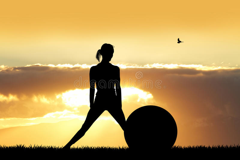 Girl with pilates ball. Illustration of girl with pilates ball at sunset stock image