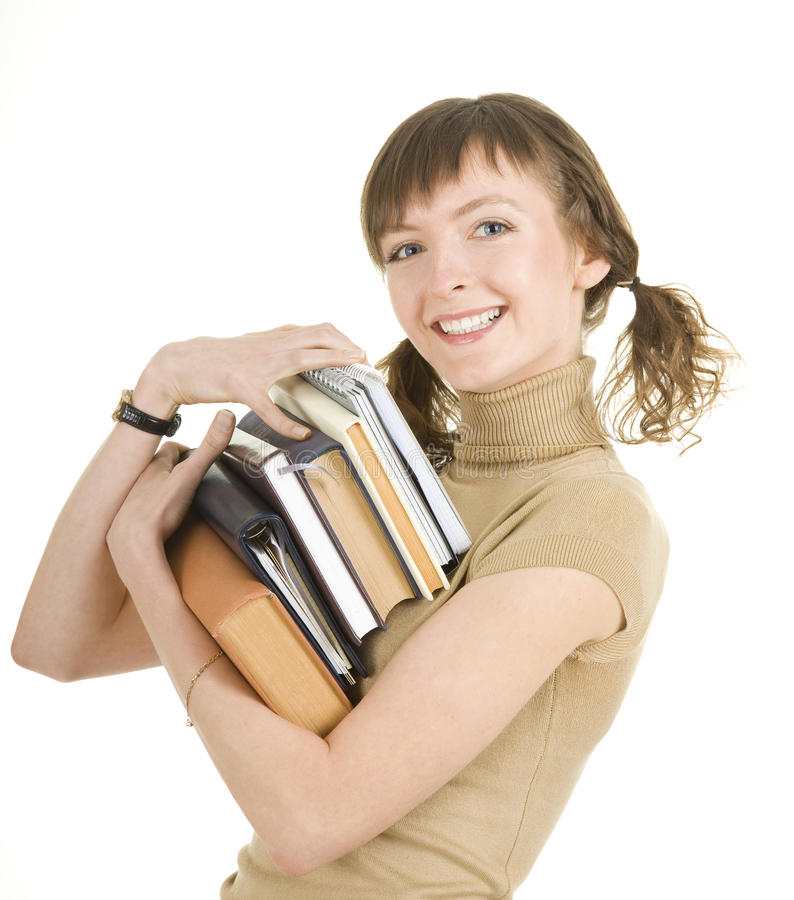 Girl with a pile of books