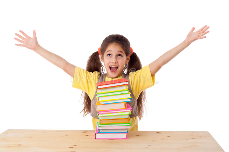 Girl with pile of books stock images