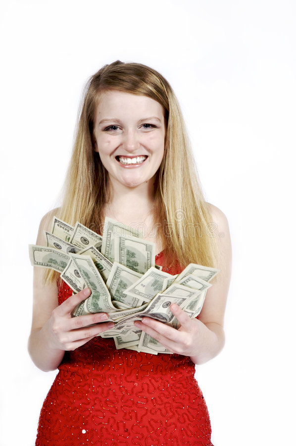 Girl with a Pile of Cash stock photography