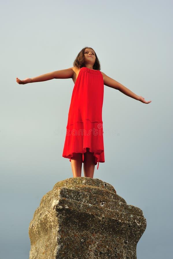 Download Girl on pillar column stock image. Image of life, freedom - 6763081