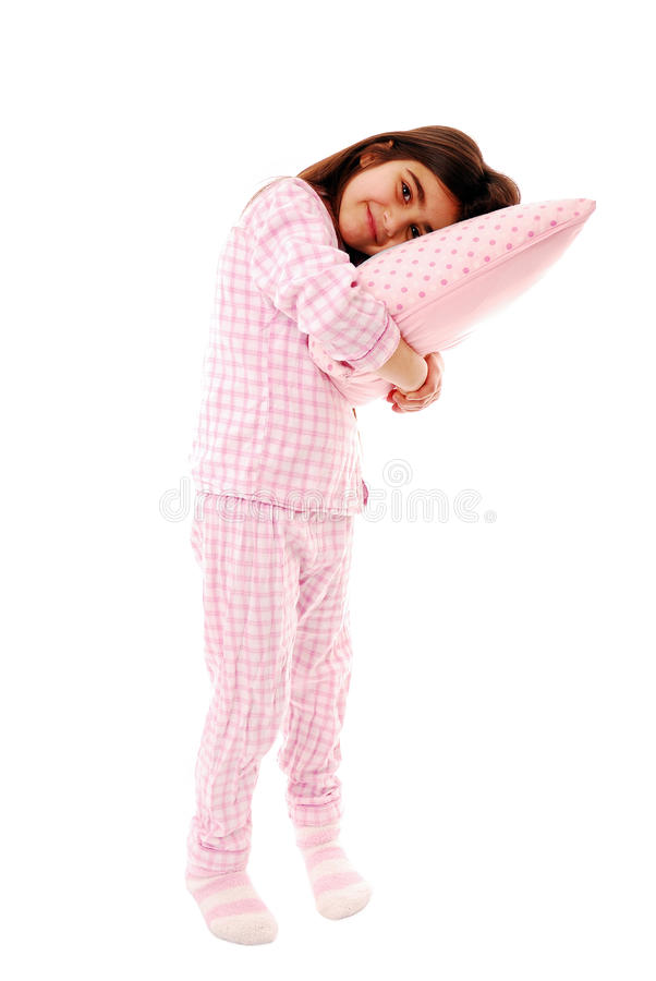 Girl with pillow royalty free stock photo