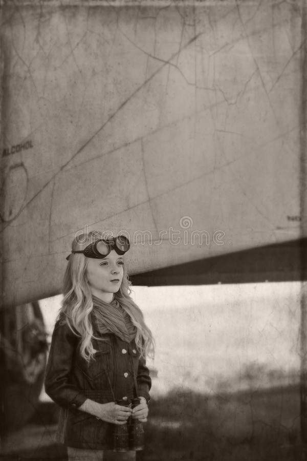 Girl pilot stock photo
