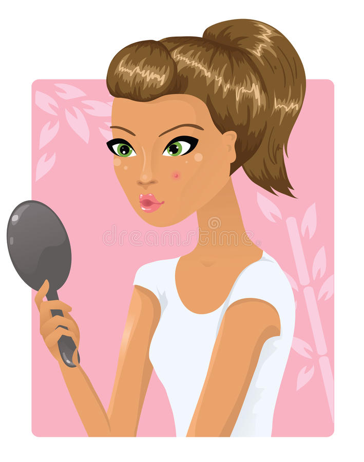 Download Girl With A Pimple On Her Cheek Stock Illustration - Image: 26514594