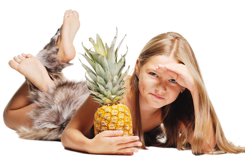Girl with pineapple looking to camera. On white. Bright picture of girl with pineapple looking to camera. On white background stock image