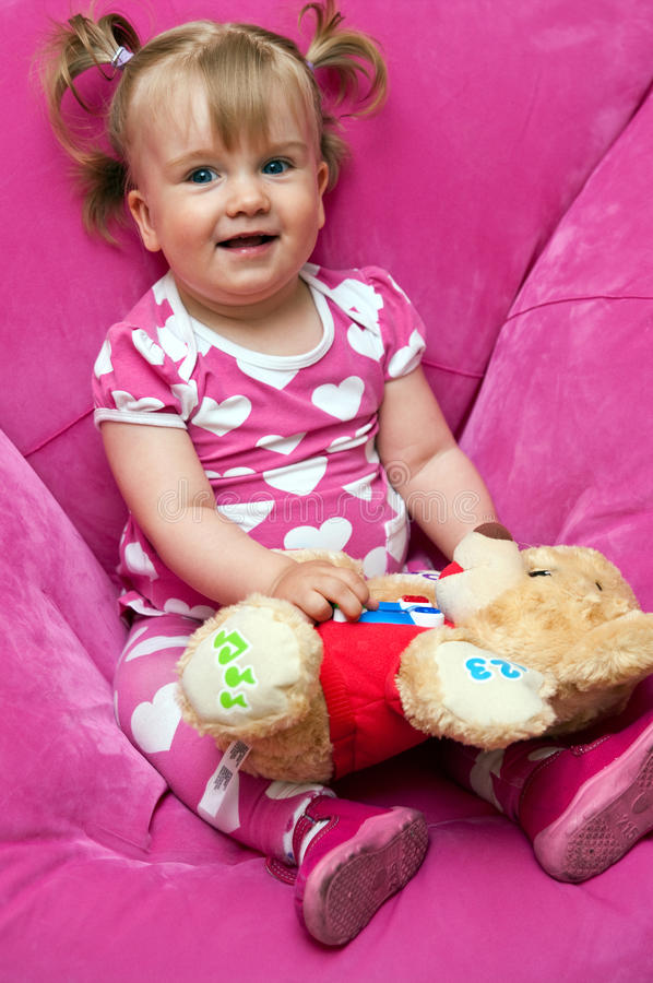 Download Girl in pink stock image. Image of teddy, portrait, bear - 24489539