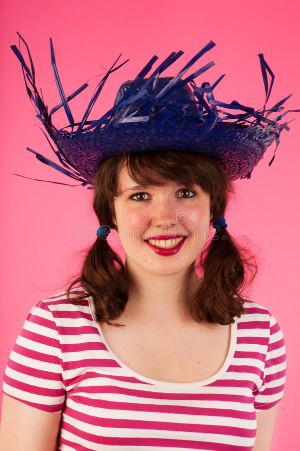 Download Girl on pink stock photo. Image of straw, stripes, face - 26646884