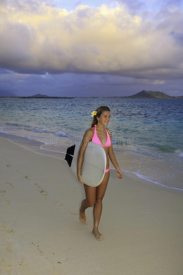 Download Girl In Pink Bikini With Surfboard Royalty Free Stock Photos - Image: 17719278