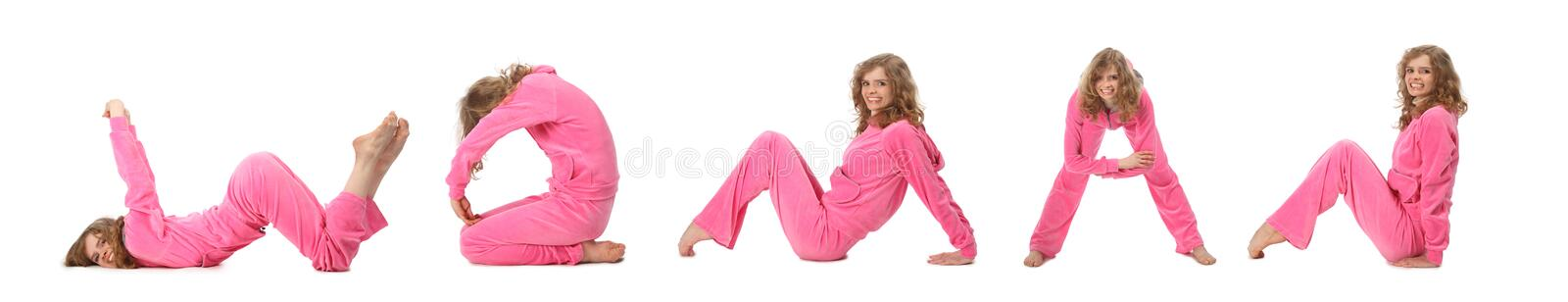 Girl in pink clothes making word WOMAN, collage stock photos