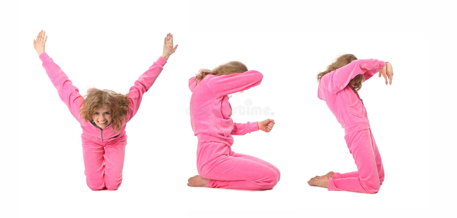 Girl in pink clothes making word YES royalty free stock images